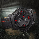 NAVIFORCE Luxury Brand Military 3D Dial Leather Watch
