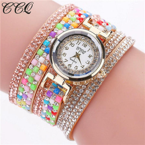 Fashion Women Casual Rhinestone Leather Vintage Bracelet Watch