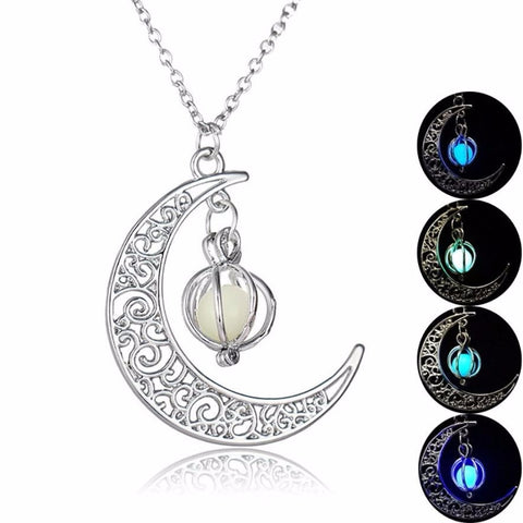 Moon shape with Ball Luminous Pumpkin glow Pendant Necklace