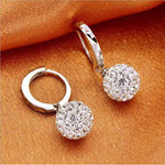 Unique Womens white gold filled white Clear crystal charming hoop earring