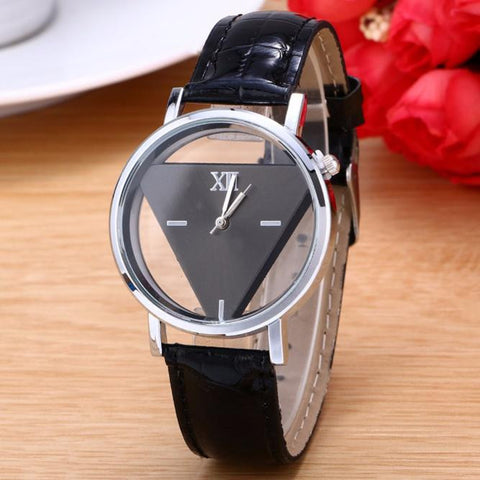 Unisex Unique Triangular Dial Black Fashion Watch