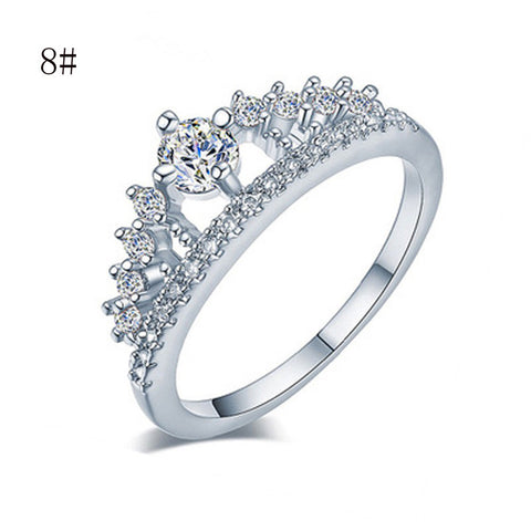 New Fashion Pretty Crown Crystal Princess Ring