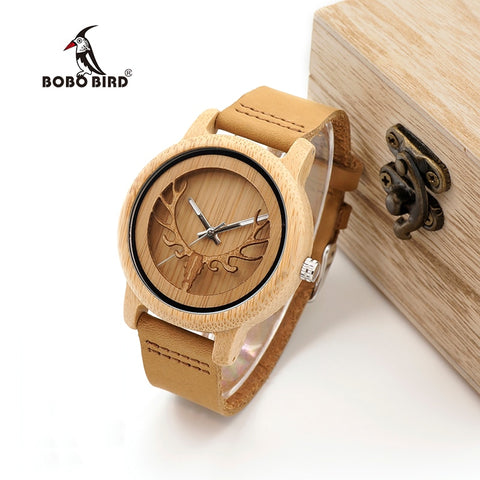 BOBO BIRD Bamboo Skeleton Deer Buck Head Design Unisex Wristwatch