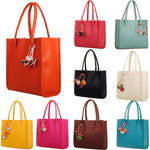 Fashion girls handbags leather shoulder bag candy color flowers totes