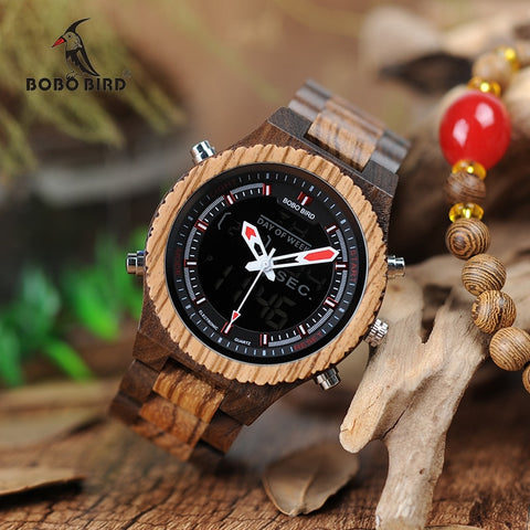 BOBO BIRD LED Digital Wood Case Watch