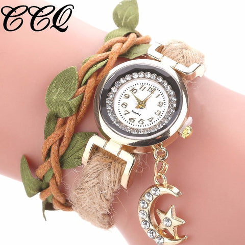 Vintage Creative Analog Moon Pendant Luxury Handmade Bracelet Wristwatches