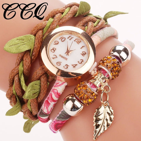 Creative Handmade Vintage Leather Bracelet Leaf Pendant Wristwatches