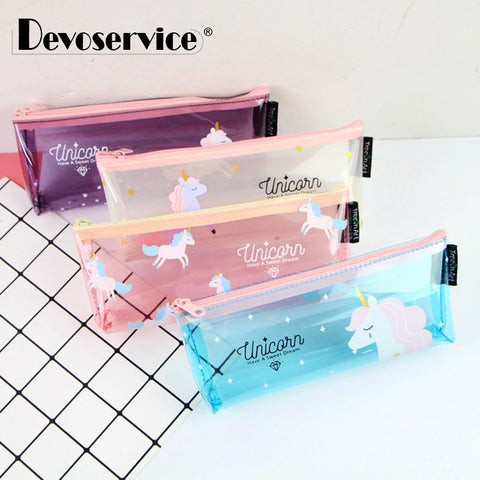 Unicorn Pencil Case Cute Transparent Pencil Bag