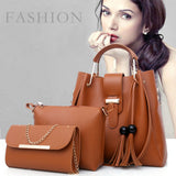Fashion Leather Tassel Shoulder Bag Cross body Bag Handbag Combo