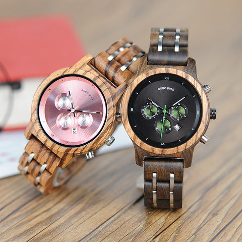 BOBO BIRD Luxury Chronograph Date Versatile Unisex Wooden Watch