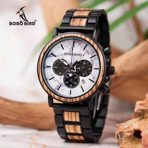 BOBO BIRD Men Luxury Stylish Wood Chronograph Watch