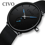 CIVO Fashion Waterproof Slim Strap Wrist Watch