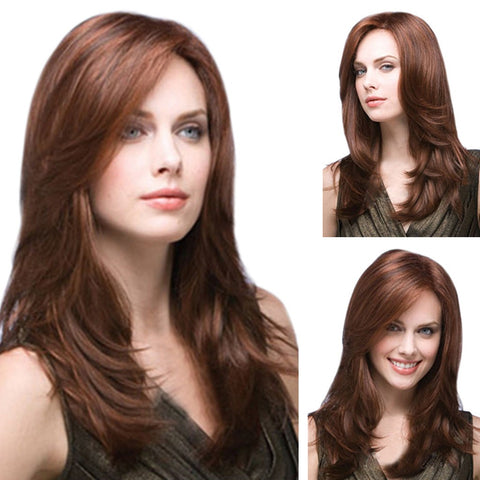 Natural Long Wavy Synthetic Brown Full Wig For Women