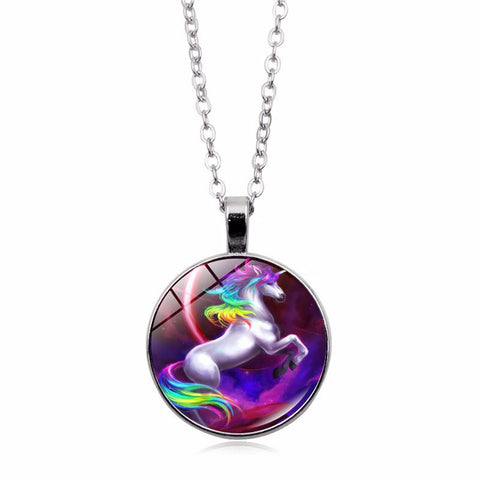 Fashion Unicorn Pendant Art Necklace