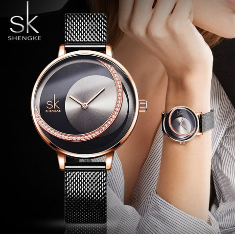 SHENGKE Unique Luxury Waterproof Rhinestone Watch