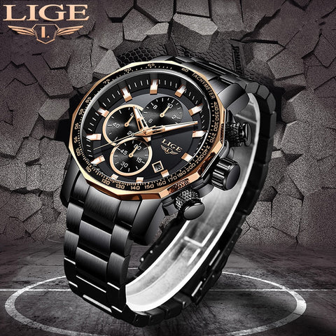 LIGE Top Brand Luxury Full Steel Sport Chronograph Waterproof Watch