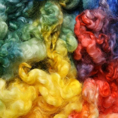 English Leicester Curls - Rainbow Dyed