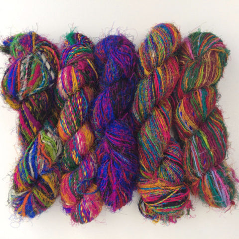 Recycled Sari Silk Handspun Yarn - Multicolour
