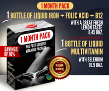 Load image into Gallery viewer, 1 Month Supply Pre Post Surgery Kit: Liquid Iron + Liquid Vitamins - 16% OFF