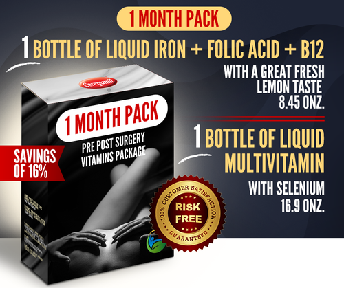 1 Month Supply Pre Post Surgery Kit: Liquid Iron + Liquid Vitamins - 16% OFF