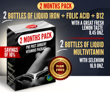 Load image into Gallery viewer, 2 Months Supply Pre Post Surgery Kit: Liquid Iron + Liquid Vitamins - 16% OFF