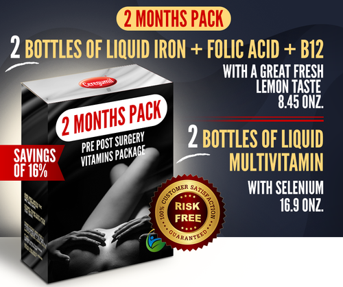 2 Months Supply Pre Post Surgery Kit: Liquid Iron + Liquid Vitamins - 16% OFF
