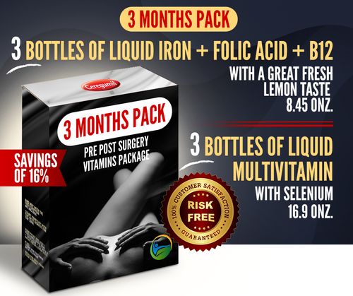 3 Months Supply Pre Post Surgery Kit: Liquid Iron + Liquid Vitamins - 16% OFF