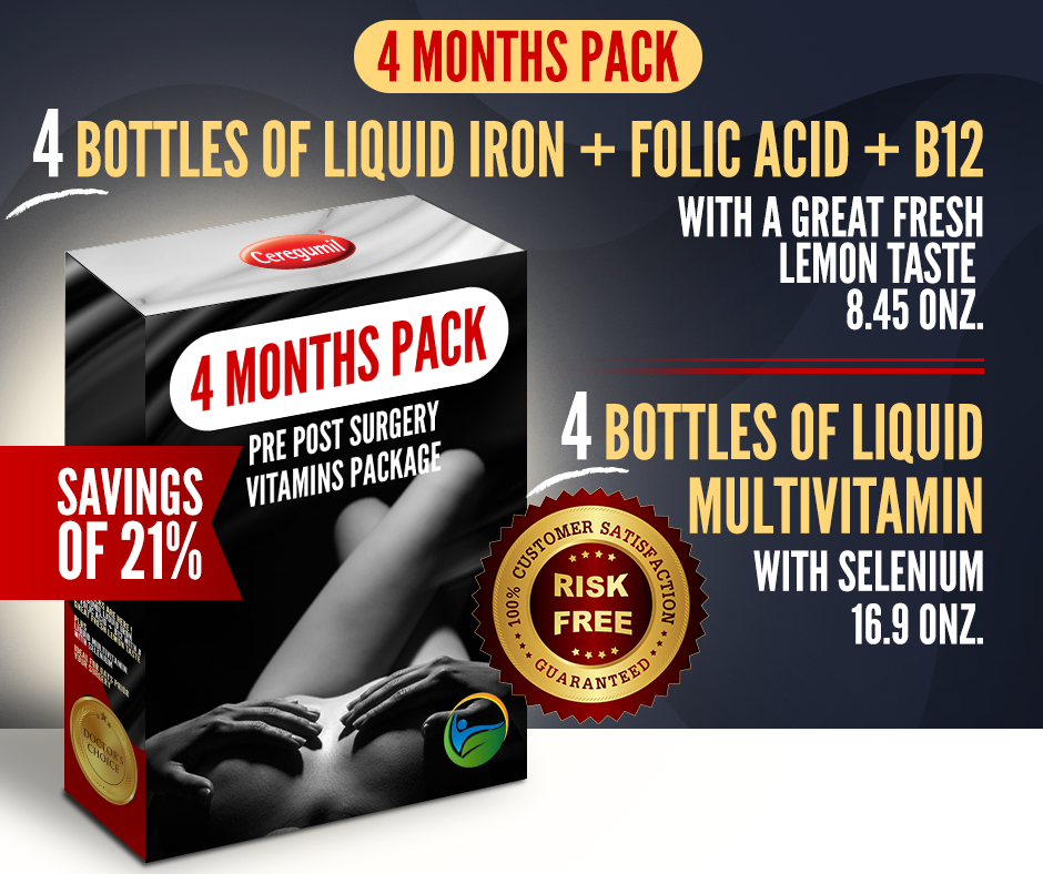 4 Months Supply Pre Post Surgery Kit: Liquid Iron + Liquid Vitamins - 21% OFF