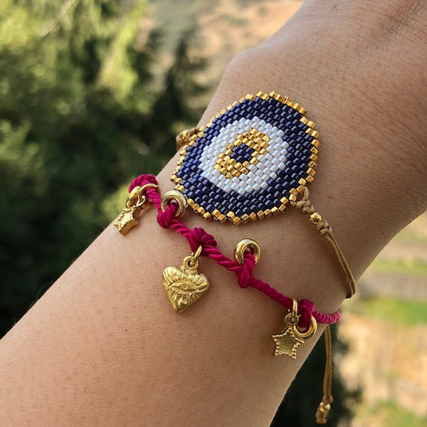 Pulsera Mostacillas Ojo Golden XL