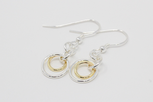 Silver & 9ct Gold Interlocking Drop Earrings