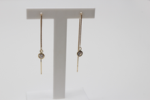 Load image into Gallery viewer, 9ct Gold Cubic Zirconia Stud Threader Long Drop Earrings