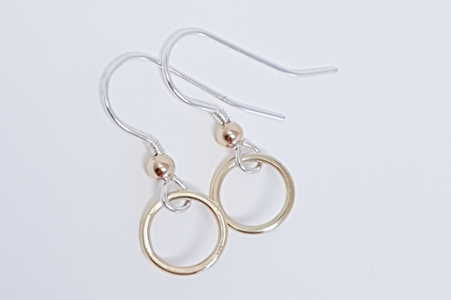 Sterling silver hook style earring with 9ct yellow gold circle drop