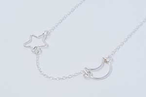 Moon & Star Silver Necklace