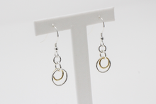 Load image into Gallery viewer, Silver & 9ct Gold Interlocking Drop Earrings