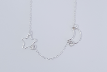 Load image into Gallery viewer, Moon & Star Silver Necklace