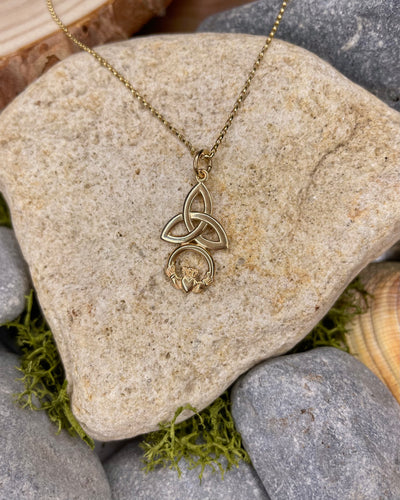 9ct Gold Trinity Knot & Claddagh Pendant & Chain