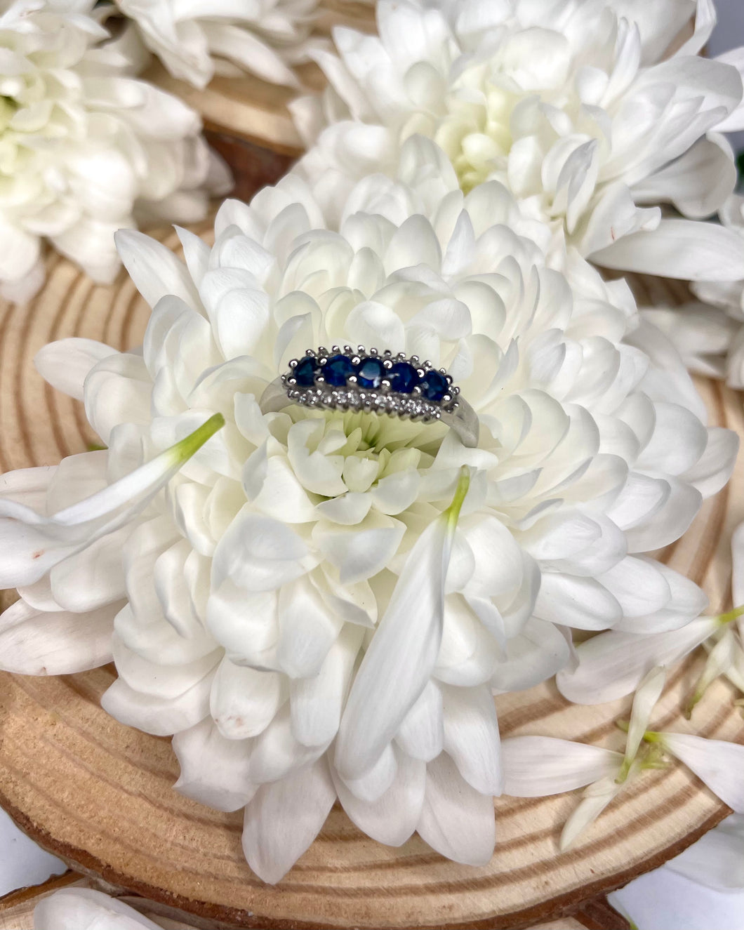 Five Sapphire & Diamond White Gold Band