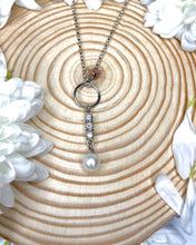 Load image into Gallery viewer, 9ct White Gold Circle Drop Pendant & Chain with Triple Diamond Bar & Pearl