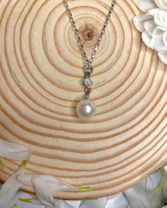 Classic Solitaire Diamond and Pearl Drop Pendant
