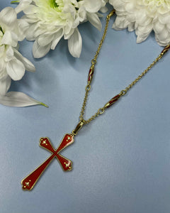 18k Gold & Red Enamel Cross