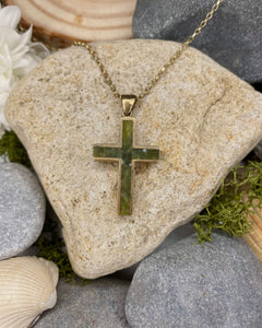 9ct Yellow Gold Connemara Marble Cross