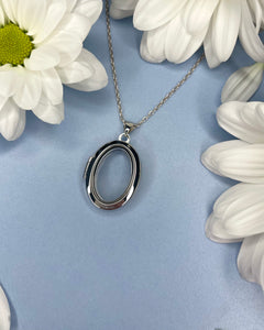Sterling Silver Transparent Oval Locket