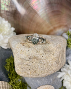 Connemara Marble Sterling Silver Claddagh Ring