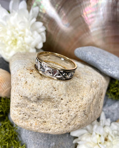 Medium Sterling Silver Celtic Ring with Gold Rim