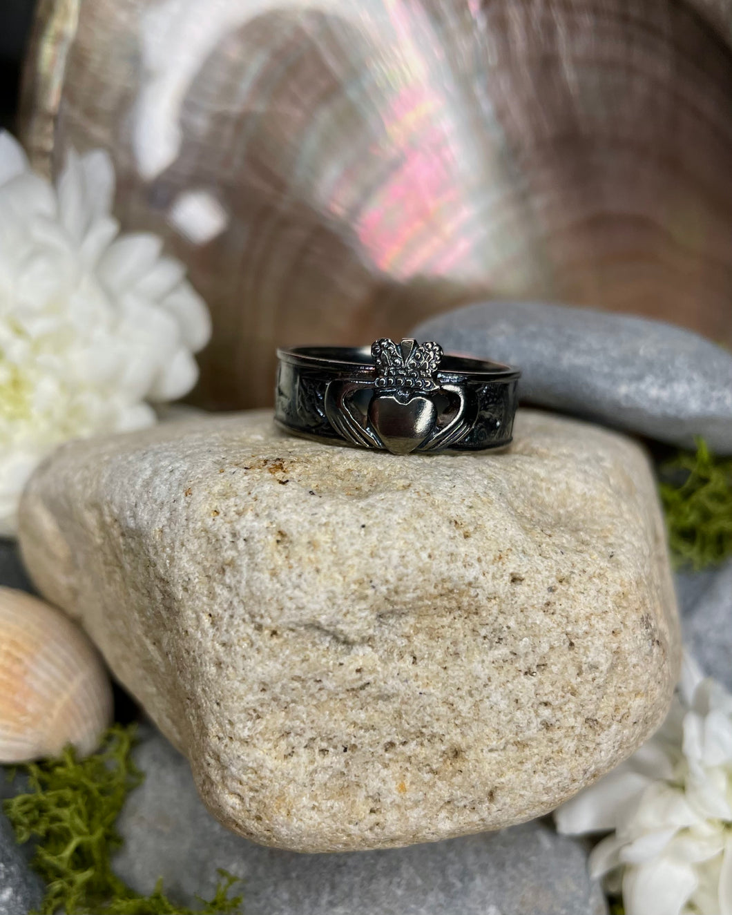 Story of Galway Claddagh Black Rhodium Ring