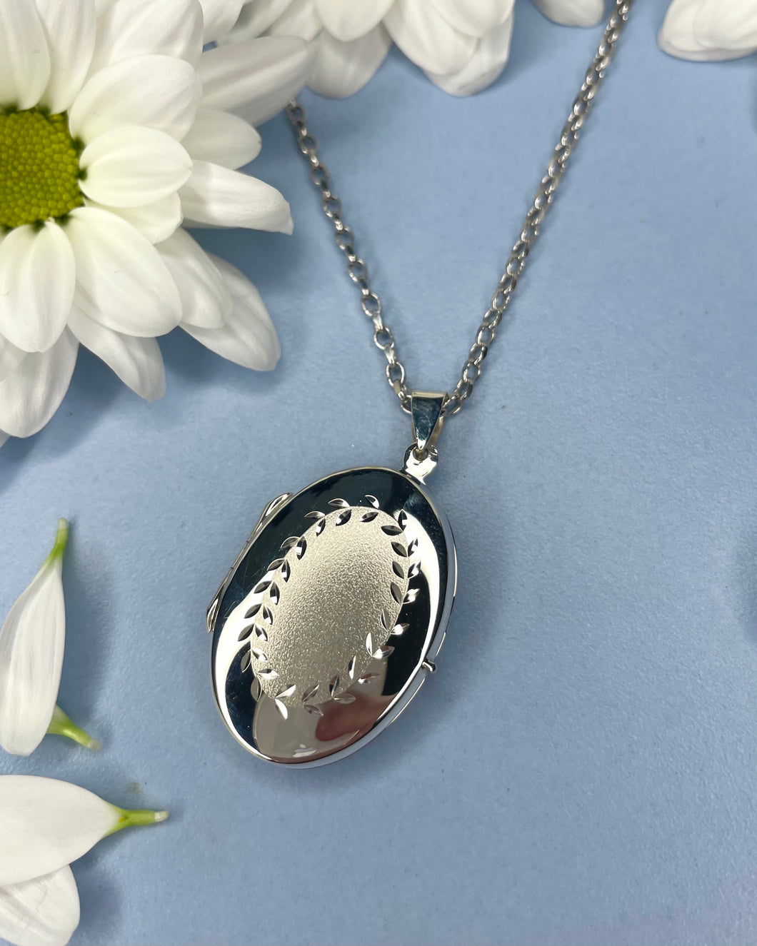 Sterling Silver Floral Matte Oval Locket