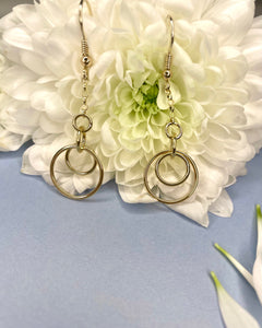 9ct Gold Quadruple Circle Chain Drop Earrings