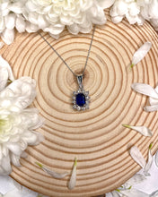 Load image into Gallery viewer, 9ct White Gold Pendant With Sapphire Centre Surrounded by Diamonds