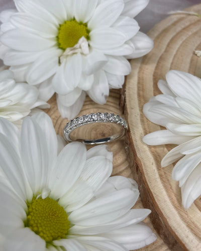 9ct White Gold Round Diamonds Eternity Band