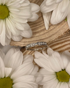 18ct White Gold & Diamond Symmetrical Crossover Wedding Band